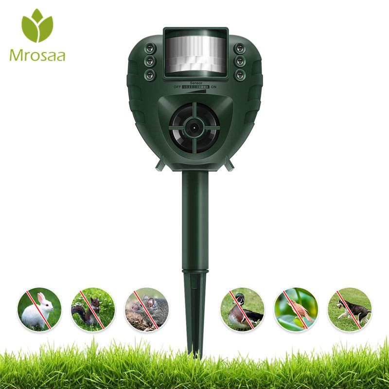 Digoo DG-AR01 PIR Ultrasonic Animal Repeller Dog Cat Insect Flash Light Repellent Outdoor Garden Expeller Pest Control for Yard
