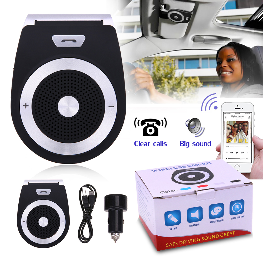 New Auto Car Bluetooth Handsfree Kit phones Audio Receiver Calls Voice Speaker Car AUX Home Audio System Devices Car Styling
