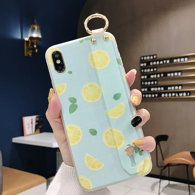 SoCouple Wrist Strap Phone Case For iphone Xs max Case For iphone X Xs XR 6 6S 7 8 plus Fruit Lemon Pattern Soft TPU Case Cover (11)