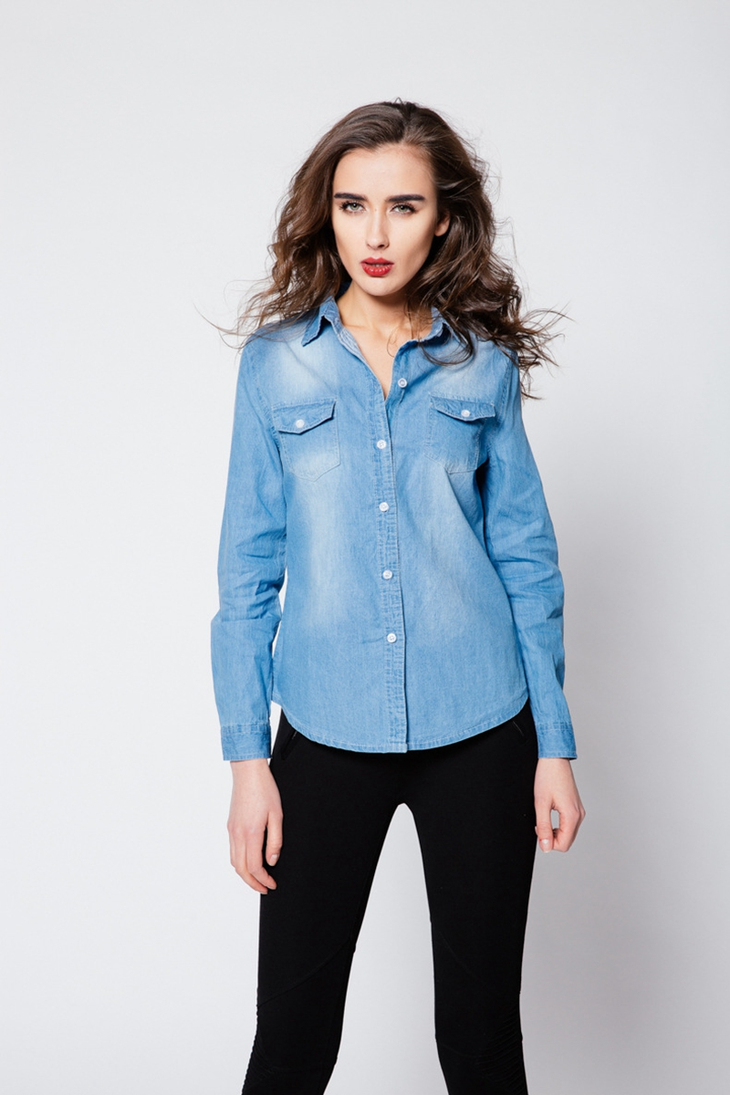 e07cc6511f4 Wholesale-FOGIMOYA Jeans Shirts Women Autumn Casual Denim New Open ...
