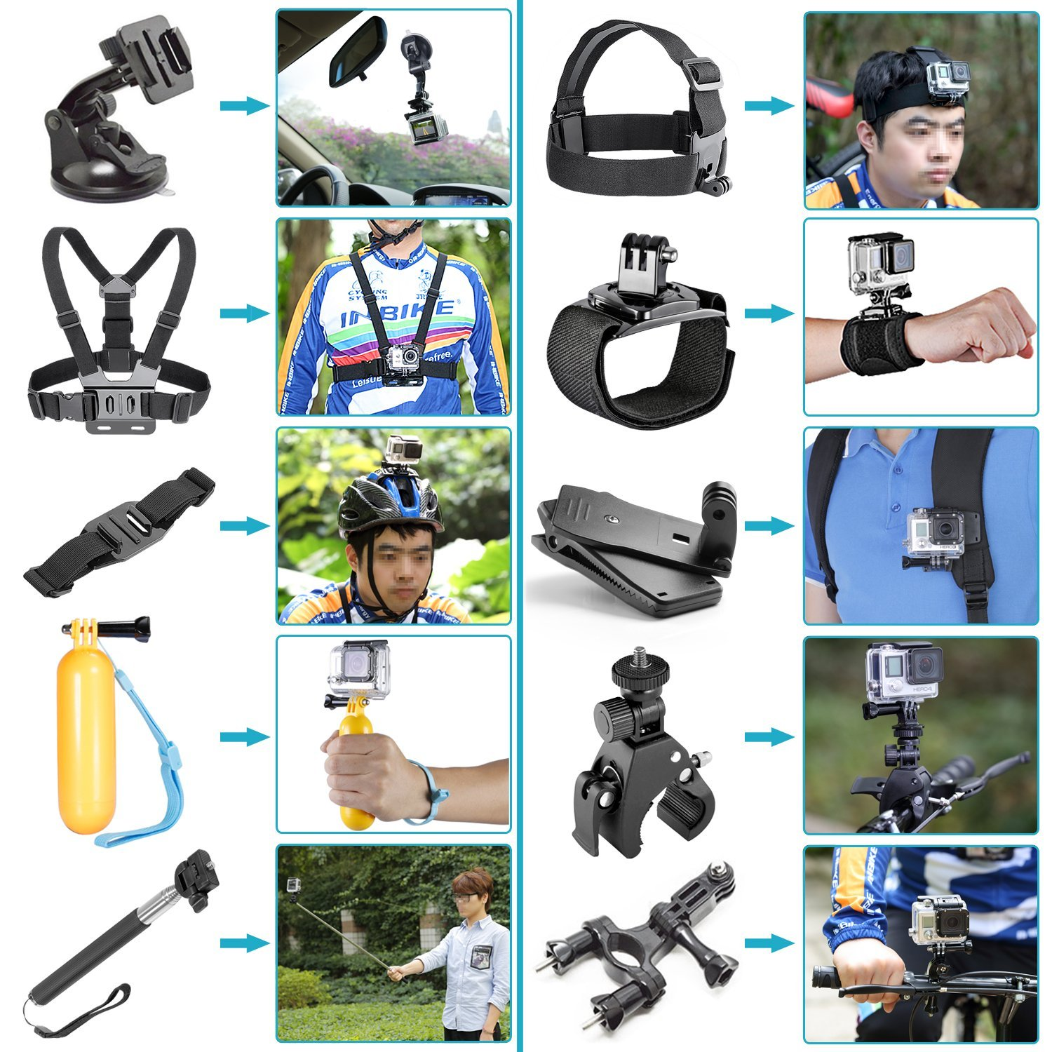 CES-48-In-1 Sport Accessory Kit for GoPro Hero4 Session Hero series for Xiaomi Yi in Skiing Climbing Bike Camping Diving and CES