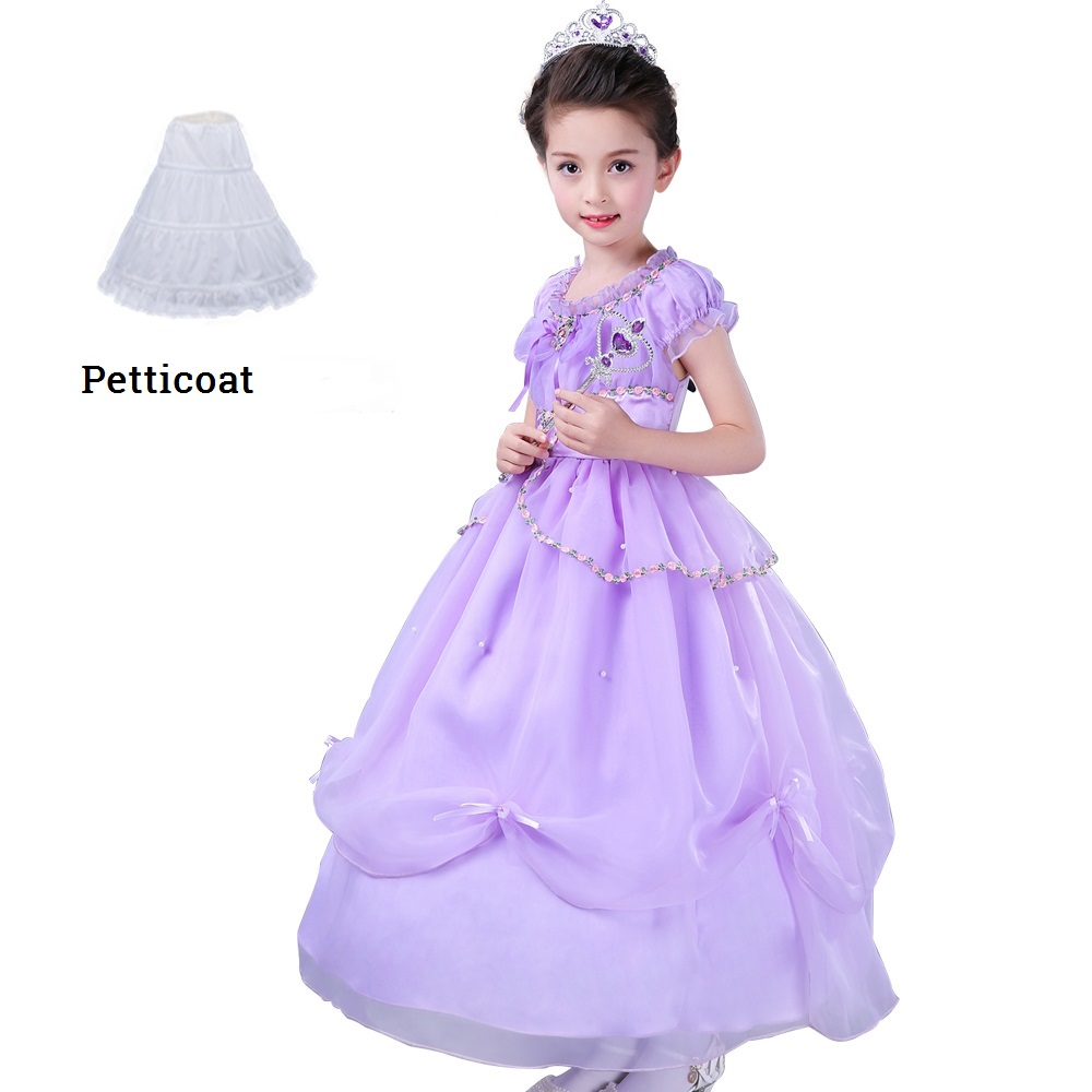 2017 summer Girl Kids princess Sofia dress Baby Children Party dresses Costume vestidos Cosplay Purpla Long dress clothes sofia princess kids dress lovely purple