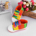 2016 High Quality Baby Shoes Girls Boys 2016 Fashion Rainbow Canvas Colorful Shoes Soft Prewalkers Lace-Up Casual Babys Shoes