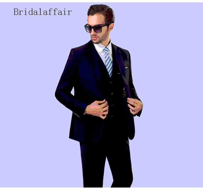 Bridalaffair Son Erkek Takım Elbise 2018 Slim Fit 3 Parça Damat Düğün Takım Elbise Siyah Yeşil Beyaz Lacivert Bordo Takım Elbise Resmi smokin
