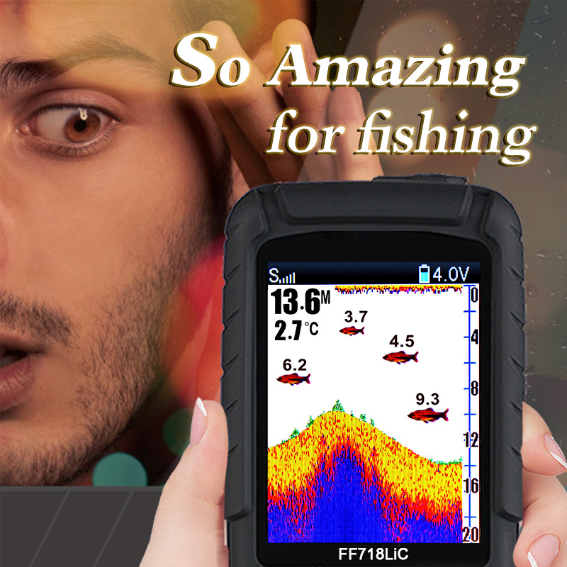 Folating & waterproof Wired and wireless Fish Finder FF718LiC Sonar Sounder Alarm Transducer Fishfinder fishing echo sounder lucky ff718lic portable 200khz 83khz dual frequency fish finder waterproof depth echo sounder wired transducer color lcd c3