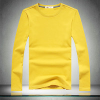 New Men's Casual Solid 100% Cotton Long Sleeve Full T Shirts,Tees For Men Autumn Spring,6 Colors,Size M-XXL,Free Shipping