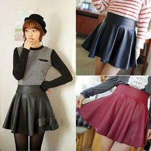 Женская плиссированная мини-юбка, винтажная мини-юбка из искусственной кожи с высокой талией