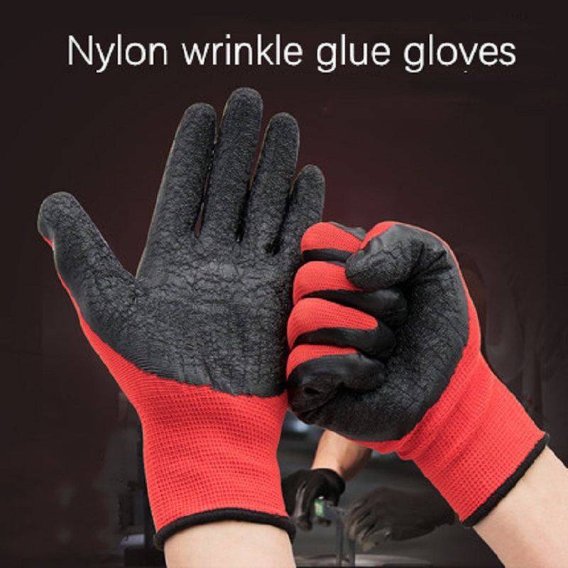 1 Pair Nylon Wrinkle Glue Work Gloves Anti-skid Oil-proof Thicken Dipping Labor Protective Work-wear Good Grip Construction