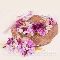 2pc Set Women Wedding Rose Flower Wreath Headband And Wrist Kids Party Flower Crown And Bracelet