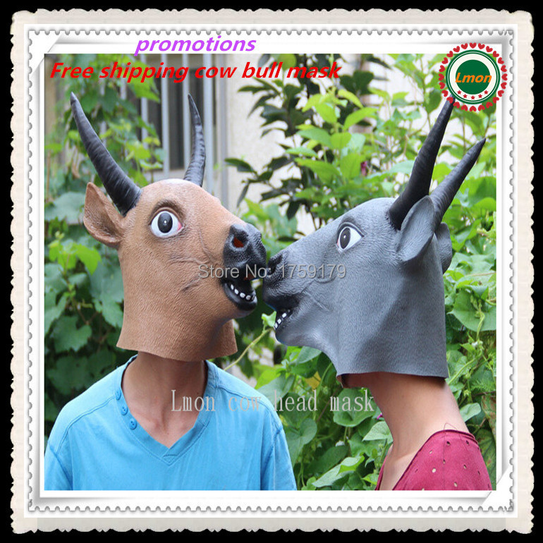 Halloween Creepy Cow/Tau Head Latex Mask Party Animal Bull Toy Prop ...