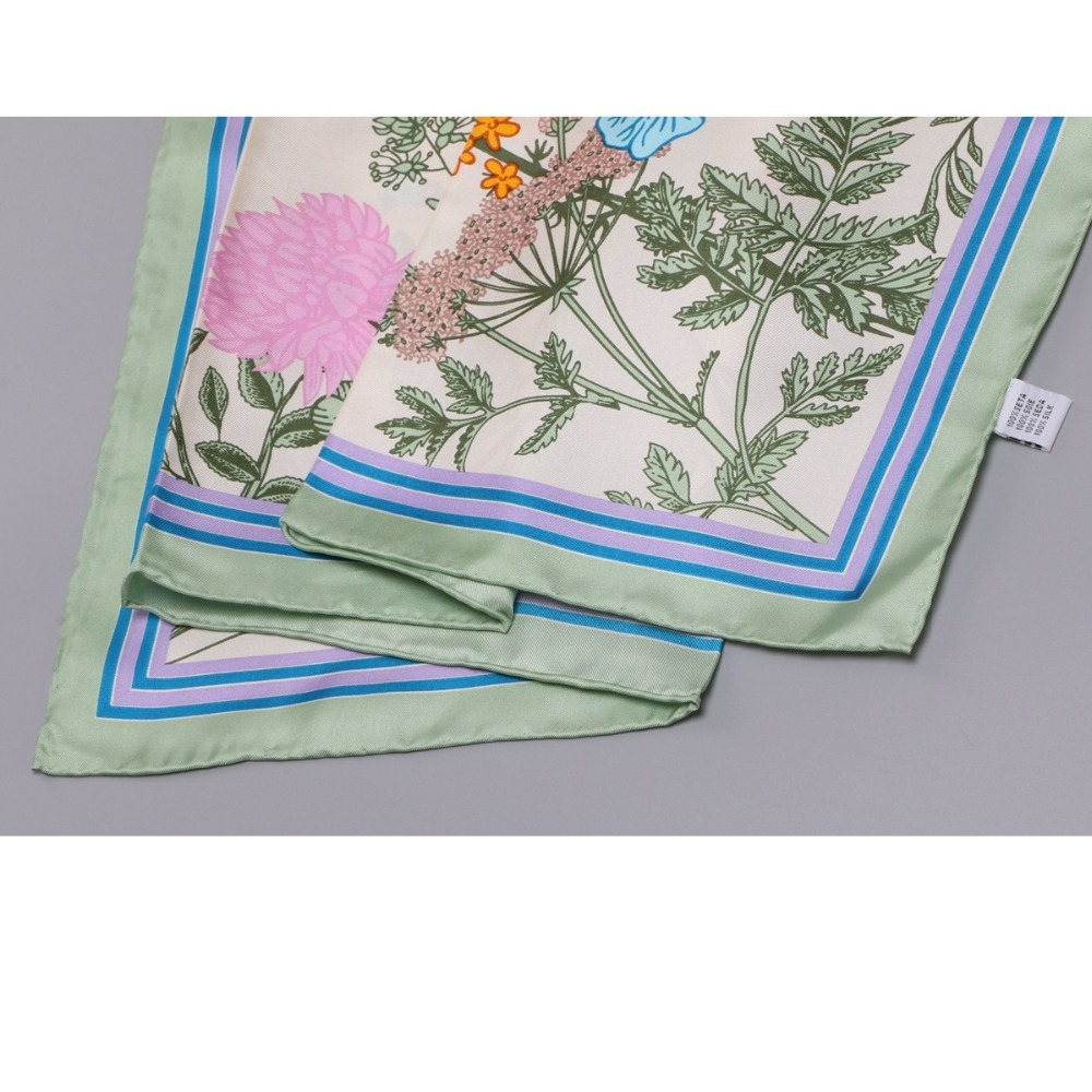 Image 2 - 2018 Floral Print Large Square Silk Scarf Shawl Hijab Foulard 100% Silk Twill Scarf Wraps Women Gifts 88x88cm-in Women's Scarves from Apparel Accessories