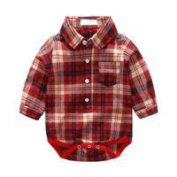 2pcs Set Autumn Baby Boys Clothing Set Toddler Red Long Sleeve Plaid Romper Shirt Corduroy Pants