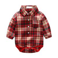 2pcs Set Autumn Baby Boys Clothing Set Toddler Red Long Sleeve Plaid Romper Shirt Corduroy Pants