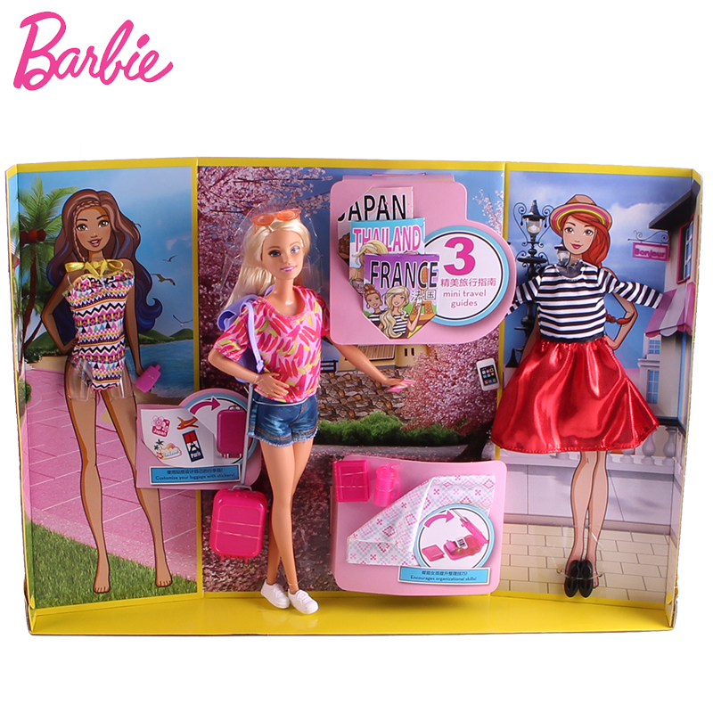 Barbie Original Brand Travel Giftset Doll Barbie Girl Pretend Dolls American Girl Toy For Christmas Day Gift Barbie Boneca brand new 1996 hallmark barbie large christmas stocking red sateen & white