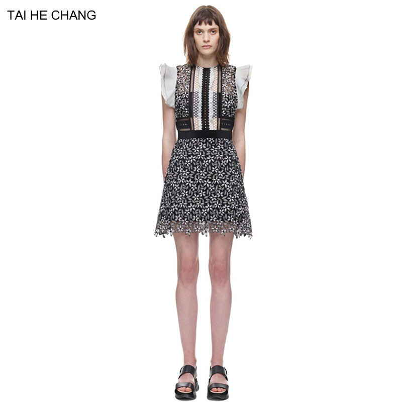 New autumn runway women dresses fashion designer lace hook flower sexy patchwork mini short vintage summer dress sleeveless 2550