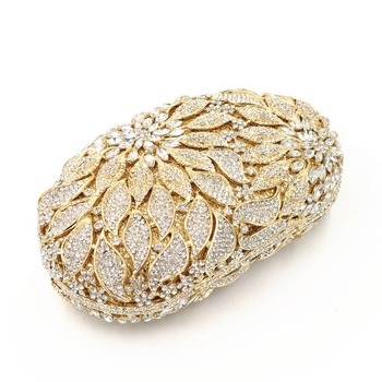 Luxury Rhinestone Gold Metal Leaves White Crystals Evening Clutch  4