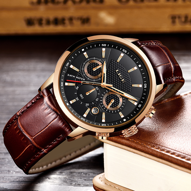 Image 3 - LIGE Mens Watches Top Brand Luxury Leather Casual Quartz Watch Men Military Sport Waterproof Clock Gold Watch Relogio Masculino-in Quartz Watches from Watches
