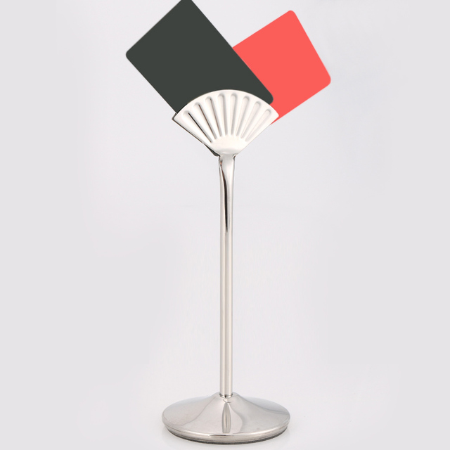 """12"""" stainless steel fan shaped table number place card holder menu"""