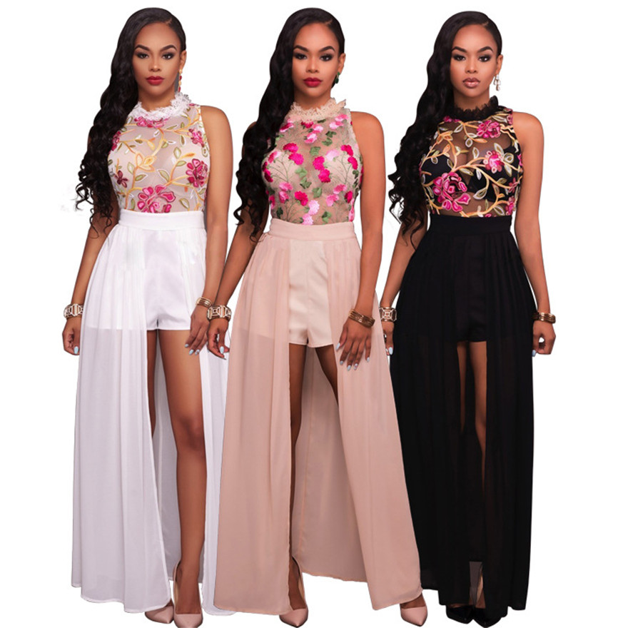 787486693a4a Women Elegant Jumpsuit Romper 2017 New Fashion Sexy Mesh embroidery Summer jumpsuit  rompers maxi Black White Pink Party Rompers-in Rompers from Women s ...