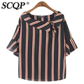 Navy Striped LadiesTurn-down Collar Chiffon Fashion Casual Womens Blouse Tops Elegant Spring Summer 2016 Loose Women Blouses