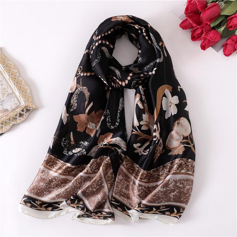 2019 Designer Print Silk   Scarf   for Lady Beach Shawl   Scarves     Wrap   Women Foulard Hijab Pashmina Scarfs Head Band