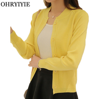 OHRYIYIE Spring Summer Candy Color Cardigan Women Sweater 2018 New Long Sleeve Knitted Cardigan Female Pink