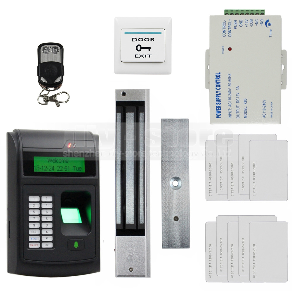 DIYSECUR 125KHz RFID LCD Biometric Fingerprint Keypad ID Card Reader Access Control System Kit + Electric Magnetic Lock 208I-S biometric fingerprint access controller tcp ip fingerprint door access control reader