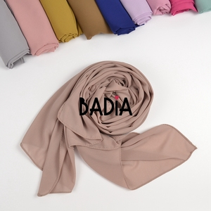 Image 4 - 10pcs/lot high quality women muslim chiffon scarf islamic georgette scarfs shawls headwear long wraps solid plain chiffon hijabs