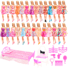 Fashion handmade 33 Items/Lot doll accessories=20 Dress Random+13 Kits For Barbie Doll Accessories Kelly DIY Toys Mini House