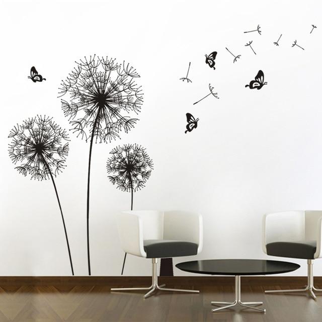 Black Pegatinas De Pared Vinilos Decorativos Dandelion Black