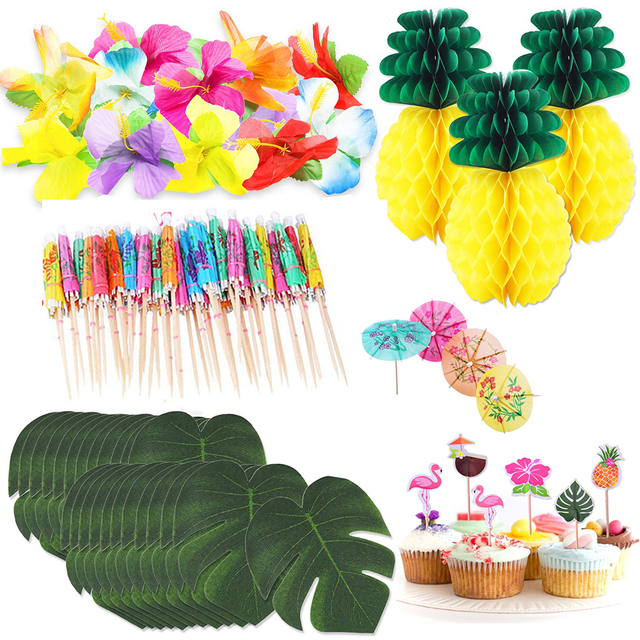 Hawai Party Decorations Tropical Palm Leaves Hibiscus Flowers Tissue Paper Pineapples For Tropical Luau Supplies