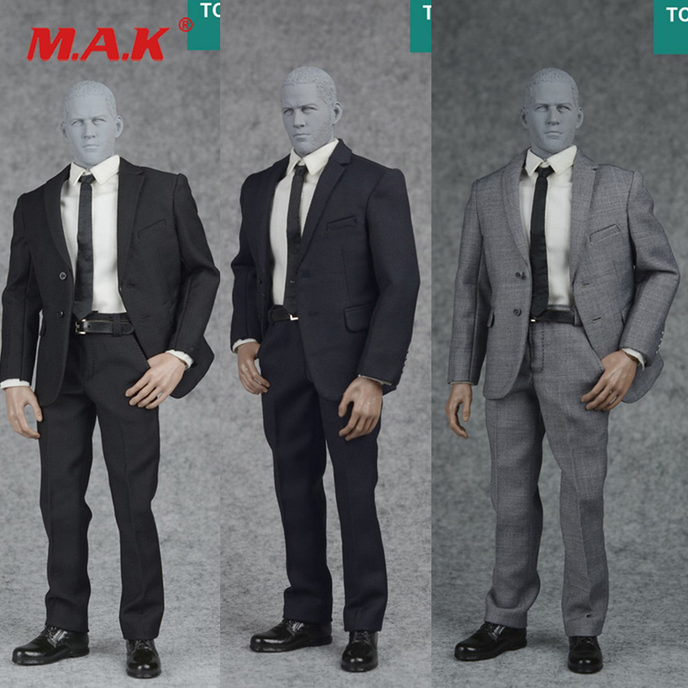 все цены на 3 Colors 1/6 Scale Black/Navy Blue /Grey Mens Formal Suits Set & Shoes for 12 inches Male Action Figure Accessory