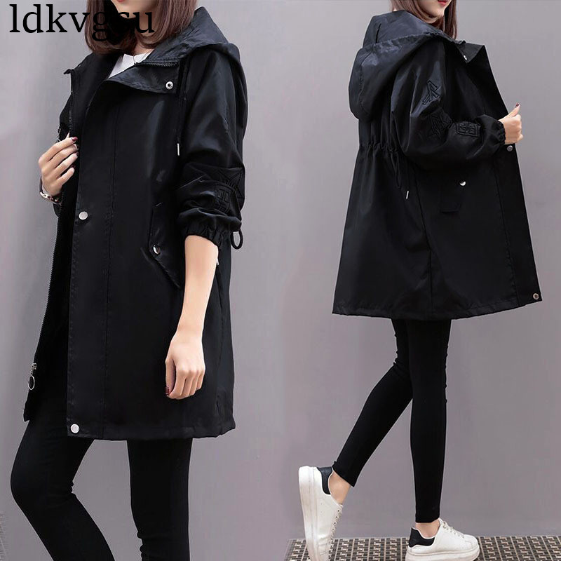 2019 New Spring Autumn Hooded Windbreaker Coats Korean Embroidery Waist Large Size Loose Long   Trench   Coat Women Outerwear V554
