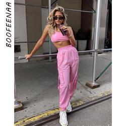 BOOFEENAA розовый сексуальный комплект из двух частей укороченный топ и брюки-карго костюмы Уличная спортивный костюм Для женщин Летняя одежда