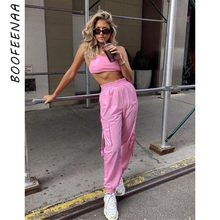 BOOFEENAA Pink Sexy Two Piece Set Crop Top and Cargo Pants Suits Streetwear Tracksuit Women Summer Clothes Matching Sets C68AE64(China)