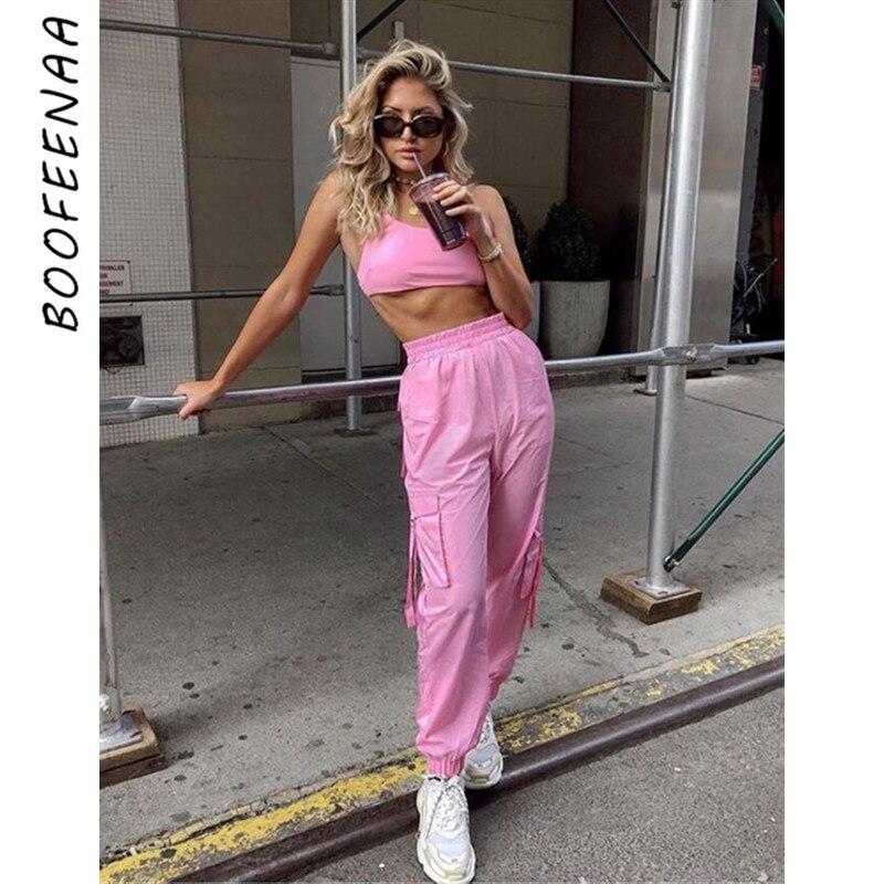 BOOFEENAA Rosa Sexy Zwei Stück Set Crop Top und Cargo Hosen Anzüge Streetwear Trainingsanzug Frauen Sommer Kleidung Passenden Sets C68AE64
