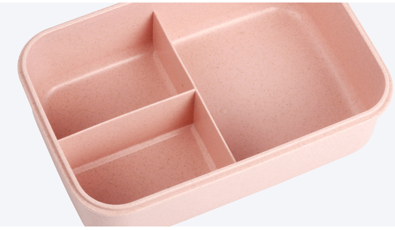 TUUTH Microwave Lunch Box Wheat Straw Dinnerware Food Storage Container Children Kids School Office Portable Bento Box B5