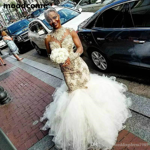 Glamorous Beads Tiers African Plus Size Mermaid Wedding Dresses Train  Illusion High Neck Lace Arabic Country Bridal Gown Bride 99bd25f9359e