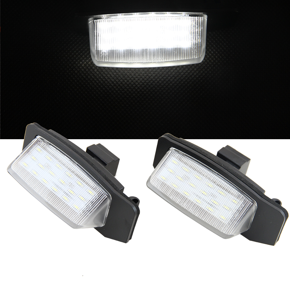 2pcs/lot 18 SMD 3528 LED License Plate light Lamp for Mitsubishi Outlander Lancer Sportback 2006-2016 Canbus No Error Auto Led 2 pcs led license plate light no error 3528 smd lamp for audi a3 s3 a4 s4 b6 a6 c6 a8 s8 rs4 rs6