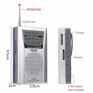 Image 5 - Universal BC R60 Pocket Radio Telescopic Antenna Mini AM/FM 2 Band Radio World Receiver with Speaker 3.5mm Earphone Jack