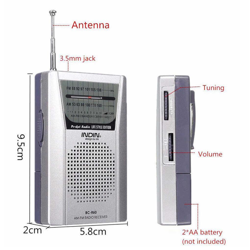 Đa Năng BC-R60 Bỏ Túi Đài Phát Thanh Ăng Ten Kính Thiên Văn Mini AM/FM 2 Băng Tần Thế Giới Thu Với Loa 3.5 Mm tai Nghe Chụp Tai