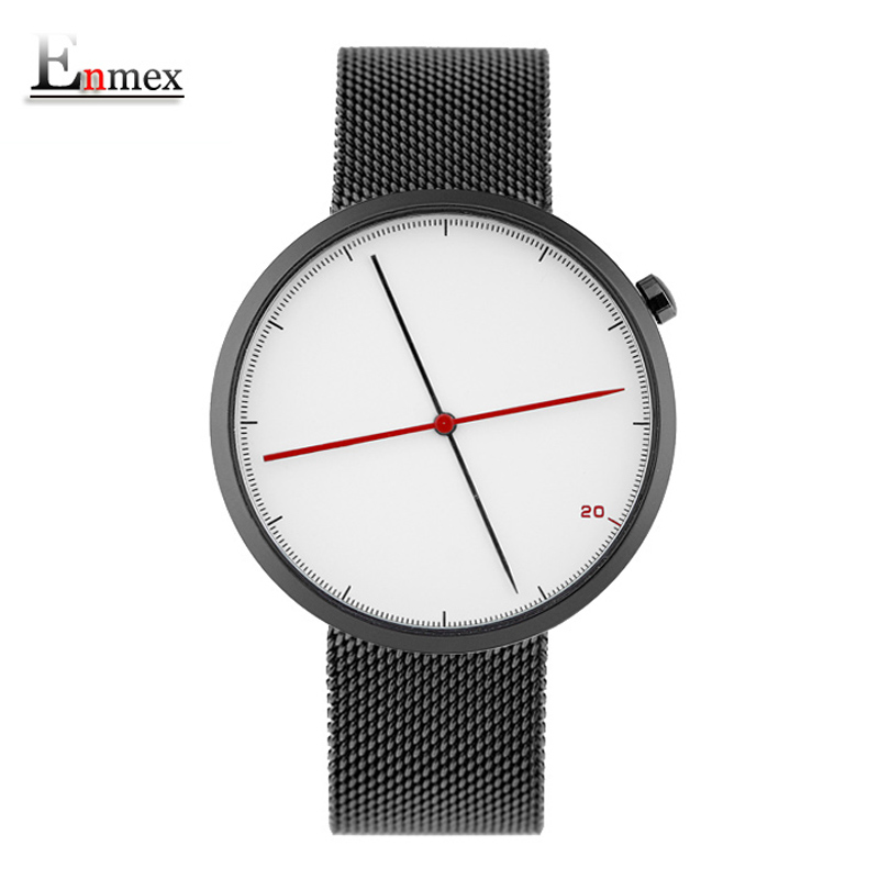 Enmex creative style cool wristwatch two balance hands with Fine scale stainless steel strap fashion Stylish clock quartz watch 2017 gift doobo creative style cool wristwatch two balance hands with fine scale casual leather strap fashion quartz watch men