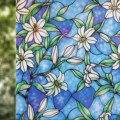 Hause Dekorative Fenster Film,Vinyl Statisch Haftenden Privatsphäre Gemalt Lilie Kunst Glas Aufkleber Gebeizt Fenster Abdeckt Tür Film Anti-Uv