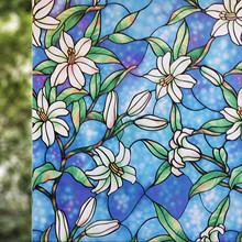 Home Decorative Window Film,Vinyl Static Cling Privacy Painted Lily Art Glass Sticker Stained Window Covering Door Film Anti-UV