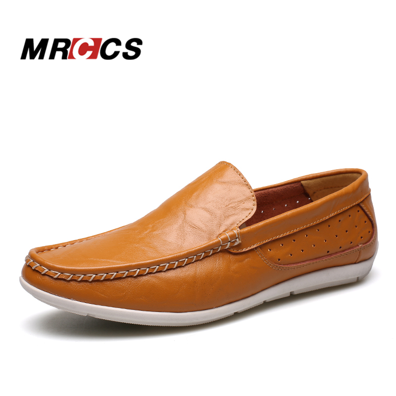 MRCCS Ultra Comfortable Men's Leather Loafers,Solid Brown/Black/White Boat Shoes,Hollow Slip On Driving Moccasins For Summer branded men s penny loafes casual men s full grain leather emboss crocodile boat shoes slip on breathable moccasin driving shoes