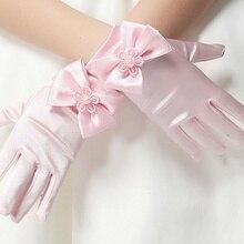 1 пара, женские эластичные шелковые и Сатиновые Детские вечерние аксессуары, Короткие рукавицы, короткие перчатки принцессы
