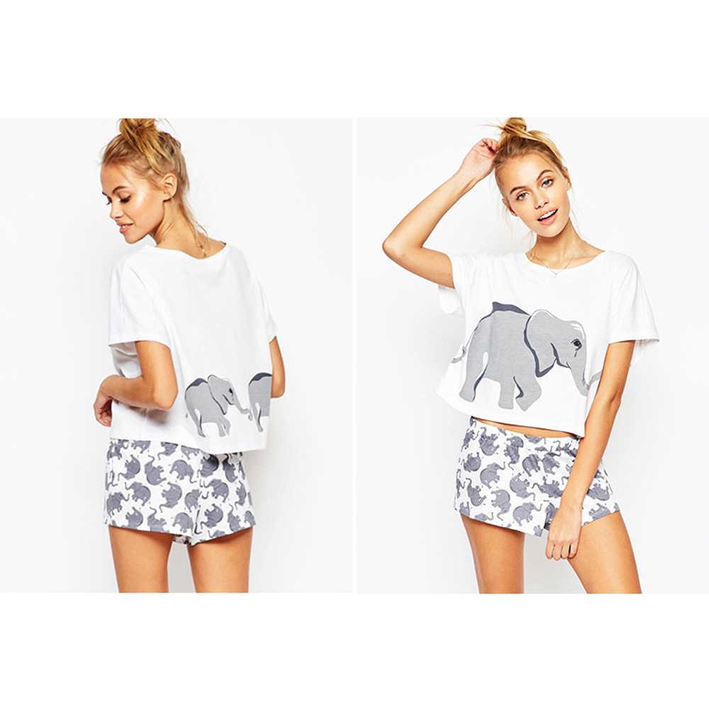 Germinate 100% Cotton Sets Pajama Women Elephant Animal T Shirts Graphic Funny Sexy Cute Shorts Nightwear Sleepwear Teen Girls