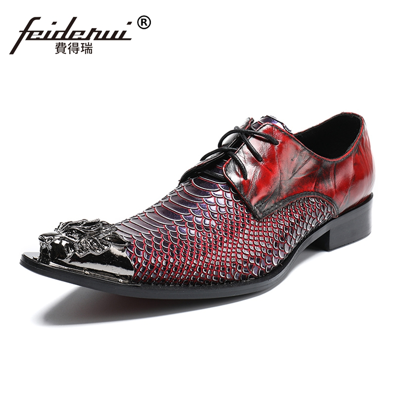Plus Size Luxury Pointed Toe Lace up Man Wedding Party Footwear Alligator Genuine Leather Derby Men's Runway Modern Shoes SL168 hot sale mens genuine leather cow lace up male formal shoes dress shoes pointed toe footwear multi color plus size 37 44 yellow