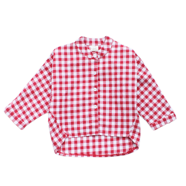 a79b5105 Baby Girls Plaid T-shirts Long Sleeve Black White Shirts 2018 New Arrival  Children Red White Plaid Cotton Tops For 2-7Y GT22