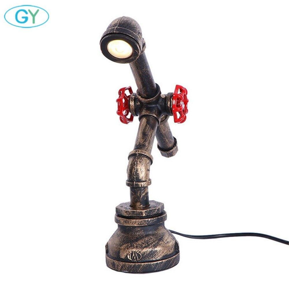 Vintage led lampe de bureau Industrielle Rustique Tuyau vêtements de protection pour Bureau Chambre salon décoration d'art Plug dans led Bureau liseuses